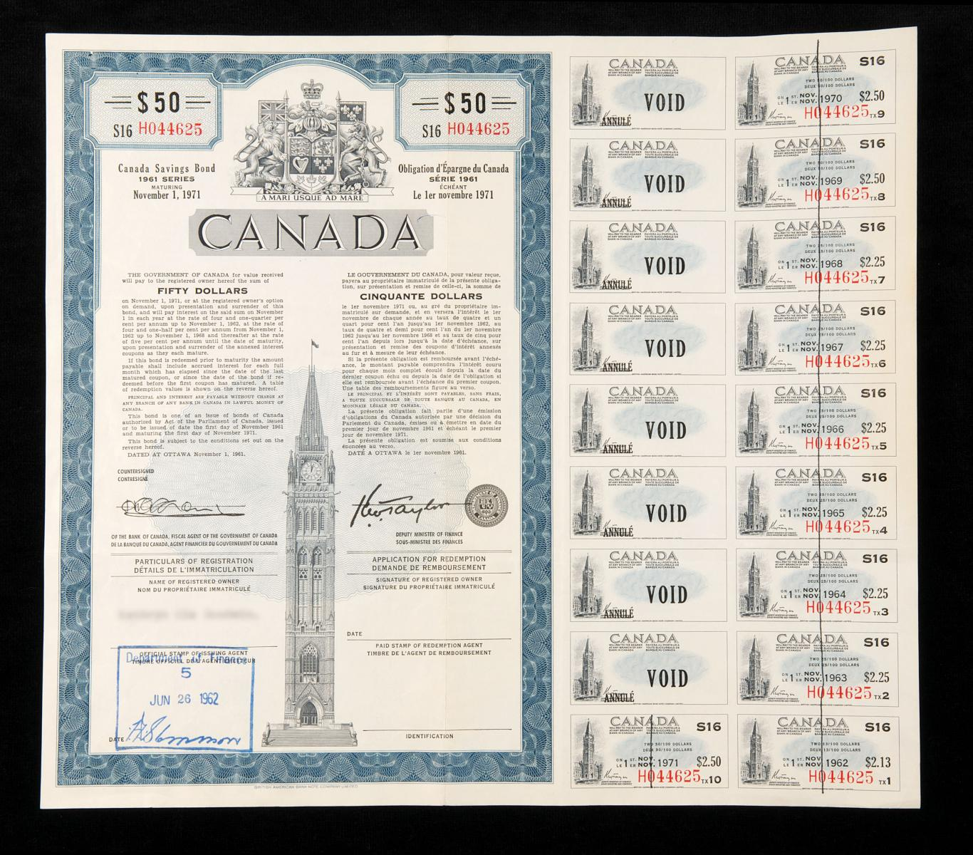 Sample image of bond certificate issued between 1946–1976 with interest coupons attached.