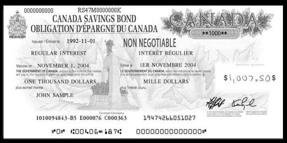 Sample image of CSB bond certificate issued in 1992.