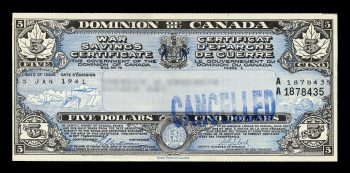 Sample image of a War Savings certificate.